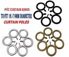 30 x Pvc Curtain Rings To Fit 16-19mm Curtain Pole, Black, Silver or Gold Effect