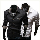 2014new Spring Fashion Leopard Print Lining Cloth Of Men's Shirts Leisure Shirt