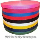 "Rolls of 20mm Polypropylene 3/4"" Webbing Red Yellow Blue White Black Green"