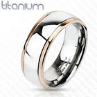 Titanium Rose Gold Plated Edge Striped Band Ring Size 5-13