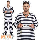 Convict Prisoner Men's Fancy Dress Stag Party Cops & Robbers Adults Costume New