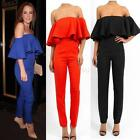 Girls Womens Strapless Jumpsuit Ruffled Pants Romper Off Shoulder Bodycon US8 10