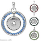 1PC Charm Pendant Fit Snap Buttons Rhinestone Round Dull Silver Tone M2920