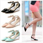 3 Colors Gladiator Womens Lady Pointy Toe Clear Wedge Heels Strappy Shoes Pumps