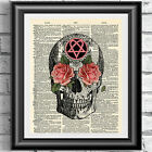 Art print on antique dictionary book page Gothic skull heartagram roses wall art