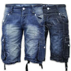 mens denim shorts Rawcraft combat cargo knee length half pants summer jeans