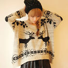 New Women's Elk Geometry Loose Batwing Sleeve O-neck Long-sleeve Sweater WZL121