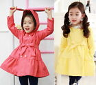 Girls Trench Coat Wind Jacket 2-7Y Tutu Dress Kids Clothes Rabbit Hooded Outwear