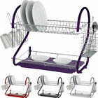 2 TIER CHROME PLATE DISH CUTLERY CUP DRAINER RACK DRIP TRAY PLATE HOLDER 2 LAYER