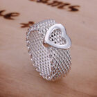 Hot Sale Solid Silver Jewelry Lovely Mesh Heart Women Ring Size 7 8 RW043