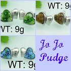 Mystic Hearts Stud Earrings -Stainless Steel -Blue, Brown or Green - E07