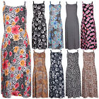Womens Floral Animal Spot Print Ladies Straps Tie Back Long Maxi Dress Plus Size