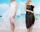 New! White or Black CHIFFON Beach Swimsuit SARONG! Bikini Cover-Up Wrap 40718