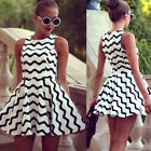 new fashion Womens Celeb Black And White Wave Stripe Printed Evening Party Dress