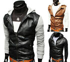 LUXURY Men's Slim Fit Faux Leather COOL Motorcycle Coat Jackets Hoody Blazer Out
