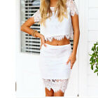 Womens Short Sleeve Two Piece Lace Evening Party White Sexy Summer Midi Dress