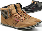 MENS NEW HI TOP RETRO SHOE SUEDE DESIGN TRAINER ANKLE BOOTS CASUAL PLIMSOLL SIZE