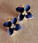 Elegant Fashion Cute Lady Girls Blue Flower Crystal Ear Stud Earrings Good Gift