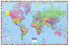 "World Wall Map Poster 36""x24"" with Flags Paper, Laminated or Canvas - 2017"