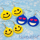 FUNKY SMILEY FACE EARRINGS COOL ACID RAVE RETRO PARTY 80s 90s FUN KITSCH NOVELTY