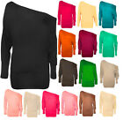 NEW LADIES OFF SHOULDER BAGGY BATWING LONG SLEEVE WOMENS SLOUCH DRESS TOPS