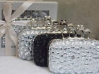 Gift Boxed Ivory Black Silver Crystal Evening Skull Knuckle Clutch Purse Bag 172