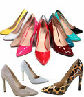 Women's Sexy Slip On Patent Pointy Toe Stiletto Pumps Shoes Size 5.5 - 11 NEW