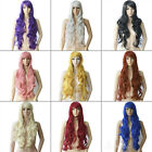 """32"""" 80cm Long Wavy Curly Anime Cosplay Wig costume Party Full head hair 9 colors"""