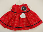 BNWT Made in U.K By Kinder Baby girls red & white spotty dress 0-3 m 3-6 m 6-12m
