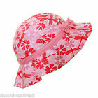 Pink flower summer sun hat girl child bow kid cotton lined frill beach