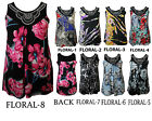 NEW LADIES PLUS SIZE FLORAL PRINT SLEEVELESS STUDDED WOMENS VEST TOPS size 14-28