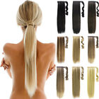 loe price 2pcs Clip In Pony Tail Hair Extensions straight curly human ponytail