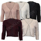 ladies shrug bolero cropped top womens winter mohair knitted cardigan open front