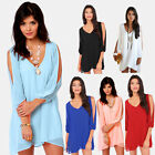 New Europe Boho Women Sexy V Neck Chiffon Elegant Casual Loose Dress Mini Dress