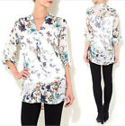Vintage Floral Butterfly Printed V Neck Sheer Chiffon Loose T Shirt Top Blouse
