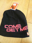 UPFRONT BLACK PINK KNITTED FLEECE LINED BEANIE HAT COME GET ME BNWT ONE SIZE