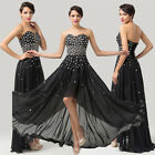 Pinup ❤ Shining Beaded High-Low Evening Formal Party Ball Gown Prom Long Dresses