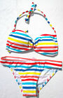 ROXY Bikini Set White Stripes Angel Bandeau Briefs Baja California