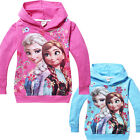 Kids Girls Frozen Elsa Anna Long Sleeve Hoody Hoodie Tops Coat Size:2-8 Years