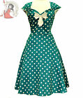 LADY VINTAGE 50's ISABELLA POLKA DOT DRESS TEAL