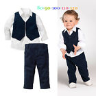 Baby Boys Three-piece Suits Set Outfit T-Shirt Tops+Vest Waistcoat Clothes+Pants