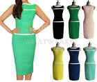 Womens Vintage Pinup Sleeveless Boat Neck Slim Pencil Shift Sheath Dress HUS