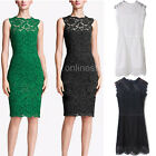 Elegant Women Sexy Lace Sleeveless Cocktail Evening Bodycon Slim Pencil Dress