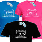 LADIES ESTABLISHED IN 1970 T SHIRT ANY 70 s YEAR made gift birthday age th