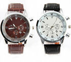 Vintage Leather Stainless Steel Wtaches Mens Boy Sport Quartz Wrist Watch