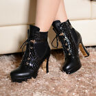 Womens sexy serpentine lace up block high heels platform Motorcycle boots shoes