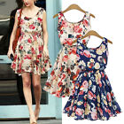 Celeb Floral Flower Sleeveless Evening Party Chiffon Pleated Skater Mini Dress