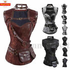 Goth Brocade Canvas Steampunk Corset with Jacket and Belt Halloween Cosplay Top