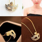 Lady Fox Masquerade Mask Pendant Necklace Full Rhinestone Crystal Sweater Chain