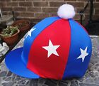 Lycra Hat Silk Skull cap Cover ROYAL BLUE & RED * WHITE STARS With OR w/o Pompom